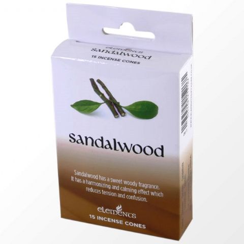 Sandalwood Scented Incense Cones Elements Indian - Box Of 15